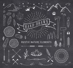Hand-Drawn Rustic Nature Elements by Adrian Pelletier on Creative Market. Cool set of outdoorsy hipster elements. Web Design, Graphic Design, Design Files, Mehndi Designs, Flyer, Chalkboard Art, Creative Sketches, Chalk Art, Business Card Logo