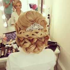 Wedding hairstyle with overhead strands - as it looks in the beam ~ Beautiful  elegant