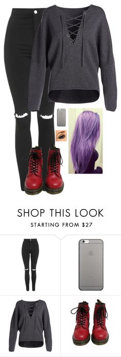 """""""Untitled #1330"""" by erika-demass ❤ liked on Polyvore featuring Topshop, Native Union, Vince and Dr. Martens"""