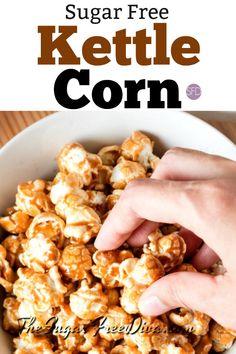 This is How to Make Sugar Free Kettle Corn. via This is How to Make Sugar Free Kettle Corn. Sugar Free Deserts, Sugar Free Snacks, Sugar Free Baking, Sugar Free Sweets, Sugar Free Recipes, Low Carb Recipes, Cooking Recipes, Healthy Recipes, Sugar Free Kettle Corn Recipe