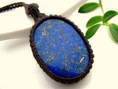 Lapis Lazuli necklace, Lapis pendant, Lapis lazulli jewelry,  Friendship necklace,  Blue,  Healing gemstones, best friend gift,  macrame