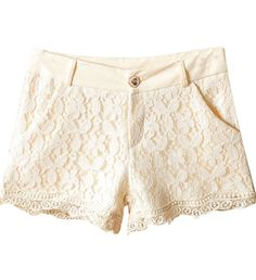 Beige Retro Style Lace Shorts - these shorts are adorable!!! Add a cute colored tank top, cute sandals or wedges and a cute hand bag. <3!