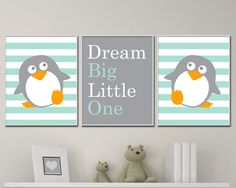 Baby Boy Nursery Art, Penguin Nursery Art Print, Suits Mint and Gray Nursery Decor - 4 Sizes Available - Colors Customizable P166,167,168 - Unframed