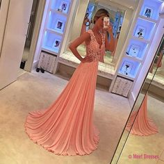 Pink Lace Appliques Long Chiffon See Through Evening Dresses 2018 Sexy Formal Prom Gowns PD20182631