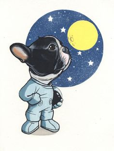 Reach for the Stars. French Bulldog drawing by Jeroen Teunen, Frenchie sketchbook page French Bulldog Puppies, French Bulldogs, French Bulldog Drawing, Animals And Pets, Cute Animals, Chihuahua Art, Dog Cafe, Dog Wallpaper, Dog Illustration