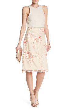 Flare Mesh Floral Midi Skirt