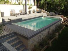 swimming pool - All About Balcony Backyard Pool Landscaping, Backyard Pool Designs, Small Backyard Pools, Small Pools, Swimming Pools Backyard, Swimming Pool Designs, Landscaping Ideas, Florida Landscaping, Sloped Backyard