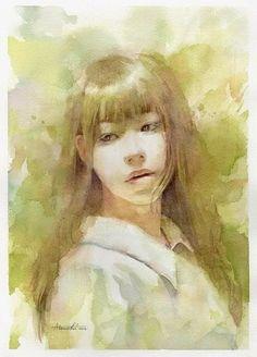 Atsushi Matsubayashi Watercolor Portrait Painting, Watercolor Art Face, Watercolor Painting Techniques, Watercolor Drawing, Artist Painting, Portrait Art, Figure Painting, Painting & Drawing, Collage Art Mixed Media