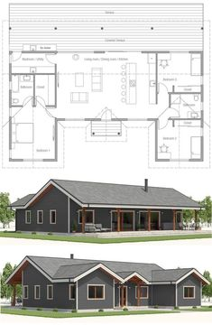 Hgtv Dream Home 2000 Trendy Ideas Metal Building House Plans, Pole Barn House Plans, Pole Barn Homes, Ranch House Plans, Dream House Plans, Small House Plans, Small Floor Plans, Garage Plans, Minimalist House