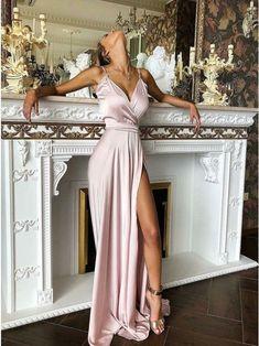 Spaghetti Straps A-Line Split Front Pink Long Prom Dress Evening Dress with Split,Mermaid Evening Dresses, Prom Dresses Long Pink, Neon Dresses, Gala Dresses, Formal Dresses For Women, Satin Dresses, Homecoming Dresses, Evening Dresses, Wedding Dresses, Long Satin Dress