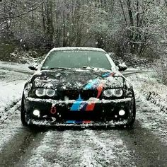 BMW E46 M3 black ///M stripe snow