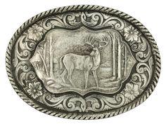 Montana Silversmiths Deer Scene Classic Antiqued Attitude Belt Buckle