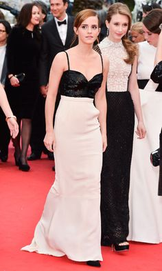 Emma Watson got the black and white memo! The actress donned a Chanel beaded black bodice—with an open back—and a silk white skirt to the premiere of The Bling Ring. Her finishing touch? We love that she chose classic black pumps to pair with her gown.   - Cosmopolitan.com