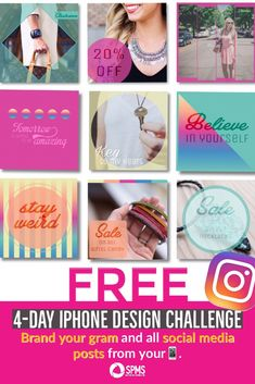 Take The Free Four Day iPhone Design Challenge Social Media Branding, Social Media Design, Social Media Tips, Iphone Design, Free Candy, Custom Fonts, Instagram Tips, Facebook Sign Up, Brand You