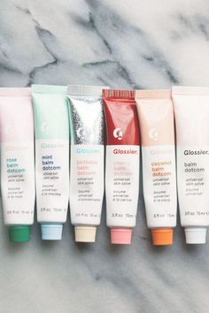 skincare ✰ Glossier Balm Dotcom in Rose, Minze, Geburtstag, Kirsche, Kokosnuss und Original How To S Beauty Care, Beauty Skin, Beauty Hacks, Beauty Advice, Beauty Ideas, K Beauty, Face Skin Care, Image Skincare, Aesthetic Makeup