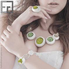 FOREST COLLECTION porcelain, moss ring, necklace, adjustable bracelet
