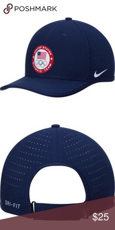 Nike Navy Team USA Classic Performance Hat NWT. Team USA Classic Dri-FIT adjustable hat from Nike. ·         Material: 100% Polyester ·         High Crown ·         Structured fit ·         Flat bill ·         Adjustable hook and loop fastener strap ·         Dri-FIT ® technology wicks away moisture ·         One size fits most ·         Two front panels with eyelets ·         Four perforated side and back panels ·         Heat-sealed graphics ·         Wipe clean with a damp cloth, lay flat…