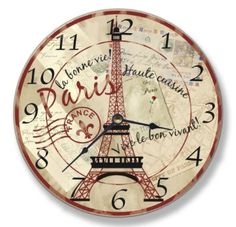 Amazon.com: Stupell Home Decor Collection Paris Eiffel Tower Wall Clock: Home & Kitchen
