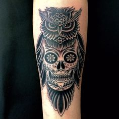 Owl & Skull Tattoo