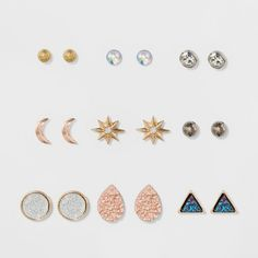 Get trendy with this stylish earring nine pack! The sparkling glitter paper will be sure to get you noticed. Mix and match earrings like the girls on the runway!