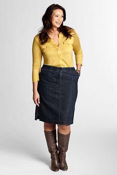 Women's Plus Size Comfort Waist Stretch Denim Skirt from Lands' End (I desperately need a new denim pencil skirt!)