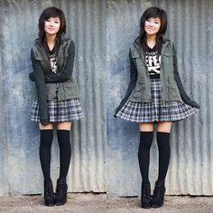 Others Follow Green Utility Jacket, Hot Topic Man Overboard Defend Pop Punk Tee, Target Pleated Plaid Skirt, Forever 21 Black Thigh High Socks, Jeffrey Campbell Black Suede Booties