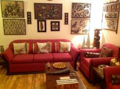 Rugs of india gurgaon: the living room with newspaper paintings , kantha wo Living Area, Living Room Decor, Living Rooms, Colourful Living Room, Indian Homes, Indian Home Decor, House Tours, Modern Decor, Interior Decorating