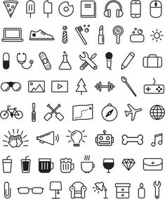 Icons von Amy Dosen via Behance You can find Behance and more on our website.Icons von Amy Dosen via Behance Cute Easy Drawings, Mini Drawings, Small Drawings, Doodle Drawings, Kawaii Drawings, Cute Little Drawings, Tattoo Drawings, Pencil Drawings, Bullet Journal Writing
