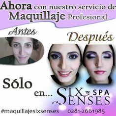 Ahora Six Senses tiene maquillaje profesional. LLAMA YA! Teléfono: 0281-2661985 Av. Bolívar CC BEG CENTER Nivel 1 PLC
