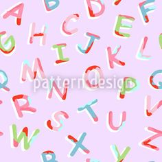 Funny alphabet pattern design with rose colors.