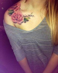 Beautiful Flowers Tattoo on Shoulder for Women