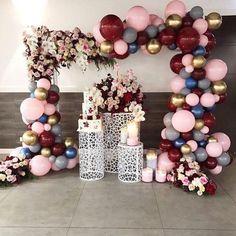 Balloon Arch or Banner Lila Party, Festa Party, Balloon Backdrop, Balloon Garland, Balloon Balloon, Party Garland, Birthday Decorations, Wedding Decorations, Wedding Scene