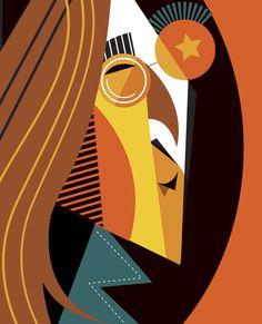 Cubist caricatures by Argentinian artist, Pablo Lobato Caricature Art, Arte Pink Floyd, Cubist Portraits, John Lenon, Beatles Art, Cubism Art, Wow Art, Geometric Art, Art Techniques