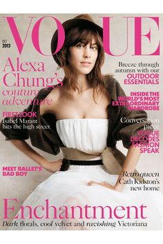 Alexa Chung Vogue October 2013 Cover - Online Guest Editor (Vogue.com UK) by Patrick Demarchelier