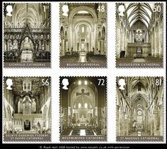 British Cathedrals - 13 May 2008  On occasion of the 300th anniversary of completion of St Pauls Cathedral Royal Mail is issuing a set of 6 stamps and a miniature sheet.  The set of 6 show the interior of six of the UKs most beautiful cathedrals using specially commissioned new photography. Set of 6: Lichfield (1st class), Belfast (St Annes), Gloucester, St Davids (Wales), Westminster, St Magnus (Kirkwall, Orkney, Scotland) Miniature sheet: se-tenant block of 4 showing the interior of St Pau