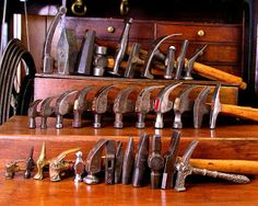 Amazing collection of Hammers. Antique Woodworking Tools, Antique Tools, Old Tools, Vintage Tools, Forging Tools, Blacksmith Shop, Home Workshop, Making Life Easier, Tool Sheds