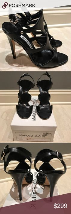 MANOLO BLAHNIK Black Stud Sandal 38.5 8 Manolo Blahnik Themy Vitello. Used in good condition. Only sign of wear is on the soles of he shoes. Black leather gladiator style on the front with silver studs and silver buckle. Heel is approx 4.5 inches. Size 38.5. These run small so they will fit an 8. Comes with original box. Retails for $745. Purchased from Saks. Manolo Blahnik Shoes Sandals