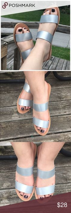 💫 Matte Silver Double Band Sandals! NEW! 💫 Sweet and sophisticated double strap sandals! Synthetic leather feels soft cushioned rubberized leather! Goes with everything! Size 6 & 10 only worn to model. New in box direct from wholesaler! Price is firm! Friendsnfashion Boutique Shoes Sandals