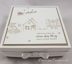 DesignZauberein: Tuesday 15 August 2017 Small Winterstädtchen Stampin`Up! Hearts Come Home Stamp Set, Hometown Greetings Edgelits Dies, Champagne Foil Sheets, Silver Metallic-Edge Ribbon Christmas Card Crafts, Stampin Up Christmas, Christmas Books, Xmas Cards, All Things Christmas, Stampin Up Weihnachten, Winter Cards, Stamping Up, Stampin Up Cards
