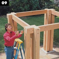 How to Build a Post and Beam Pavilion — The Family Handyman Backyard Pavilion, Outdoor Pavilion, Backyard Gazebo, Backyard Retreat, Diy Gazebo, Cedar Roof, Cedar Posts, Hot Tub Gazebo, Roofing Felt