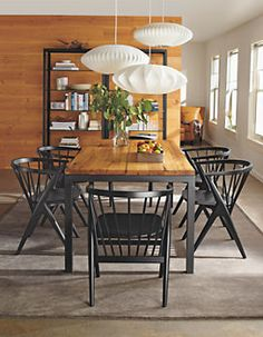 Parsons Tables with reclaimed chestnut top & Ansel Chairs - Room & Board