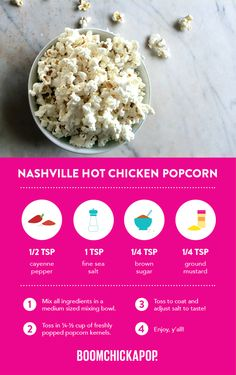 Southern-lovin' Boom for your Boom! Healthy Popcorn, Popcorn Recipes, Sweets Recipes, Just Desserts, Healthy Snacks, Snack Recipes, Healthy Recipes, Flour Recipes, Nashville