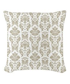 Loving this Taupe & White Damask Burlap Pillow on #zulily! #zulilyfinds