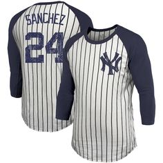 944271e86 Gary Sanchez New York Yankees Majestic Threads Pinstripe 3 4-Sleeve Raglan  Name   Number T-Shirt – White
