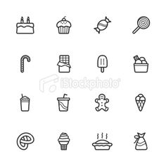 Candy and Pastry Icons Royalty Free Stock Vector Art Illustration