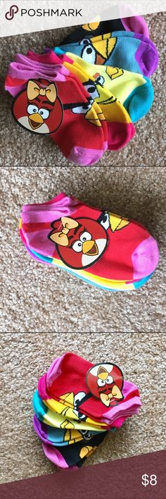 Kid's 5-pack ANGRY BIRD socks BRAND NEW!  Kid's 5-pack ANGRY BIRD Socks.  98% Polyester 2% Spandex Size Medium: 6-8.5 Angry Birds Accessories Socks & Tights
