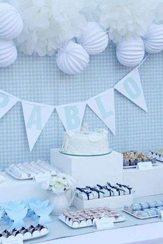 Simple Decorations for Baby Shower : cake decorations baby shower uk photos . Baby Baptism, Baptism Party, Christening, Simple Baby Shower, Baby Boy Shower, Ideas Para Fiestas, Candy Table, Baby Shower Parties, Baby Shower Decorations