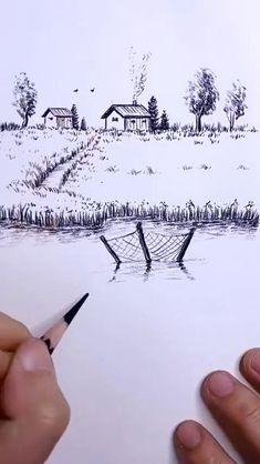 Landscape Pencil Drawings, Cool Pencil Drawings, Art Drawings For Kids, Art Drawings Sketches Simple, Beautiful Pencil Sketches, Pencil Drawings Of Nature, Landscape Sketch, Nature Drawing, Art Drawings Beautiful