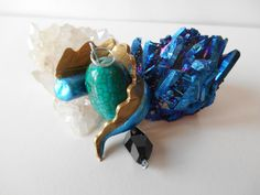 Green Fantasy Dragon egg Agate Bead Pendant with Swarovski Crystal and polymer clay wrapped tail