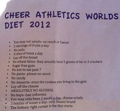 """What a pinner said: """"What allstar cheerleaders do...""""  No. We really don't. We eat normal food just like you. Yes, we to try to eat healthy & work out, because it makes practices easier. But we don't do this 24/7."""